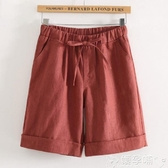 雙11棉麻五分褲棉麻五分褲女夏休閒寬鬆直筒中褲文藝熱褲鬆緊腰大碼顯瘦5分短褲