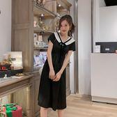 大韓訂製短袖洋裝學院風海軍領連身裙法式復古赫本小黑裙