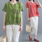 棉麻 日系線條織紋木釦上衣 獨具衣格