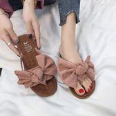 夏季新款韓版百搭平底蝴蝶結時尚外穿夾腳沙灘涼鞋  JT3【3C環球數位館】