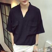 夏季ulzzang襯衫男寬鬆半袖韓版潮流bf風棉麻體桖男短袖襯衣 「潔思米」