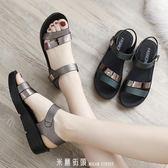 新款夏季平底女鞋中年中老年厚底楔形女士百搭厚底中跟媽媽鞋涼鞋 「米蘭街頭」