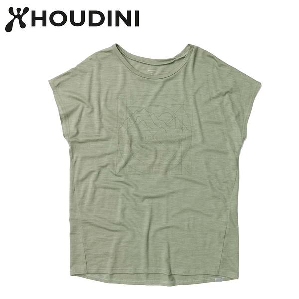 瑞典【Houdini】W`s Activist message Tee 女 羊毛混紡天絲圖騰短袖 碗豆綠