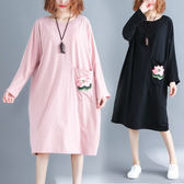 洋裝【K70】FEELNET中大尺碼女裝2018秋裝韓版圓領中長款休閒長袖洋裝 XL~2XL