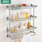 毛巾架 304不銹鋼毛巾架玻璃浴室置物架免打孔2層浴巾架廁所衛浴五金掛件