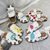 年終大促包頭可愛卡通涼鞋女夏2018新款森系平底軟木涼拖鞋學生兩穿洞洞鞋 熊貓本
