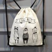 束口袋包  抽繩袋旅行簡易雙肩包棉麻帆布輕便男女背包束口袋雜物袋收納包袋 『伊莎公主』
