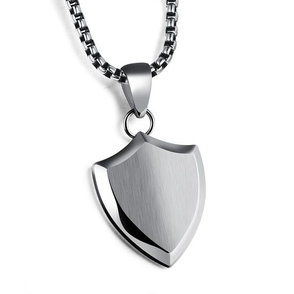 【5折超值價】 316L西德鈦鋼情人節禮物流行簡約時尚三角形盾牌造型鈦鋼流行男款項鍊