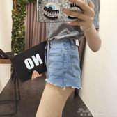 顯腿長顯瘦aa超短褲款夏裝學生撕邊流蘇高腰磨邊性感牛仔褲熱褲女  蒂小屋服飾