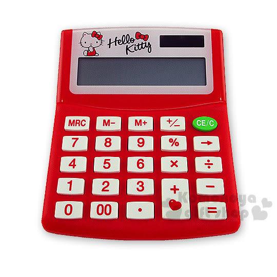 〔小禮堂〕Hello Kitty 太陽能計算機《紅.蝴蝶結》12位元 4710884-95945