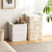 收納盒 懶角落 塑料收納箱帶蓋衣服收納盒玩具整理儲物箱子衣櫃收納62801【美物居家館】