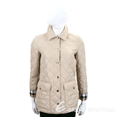 BURBERRY 菱形絎縫格紋細節口袋鋪棉外套(卡其灰)  1820197-28