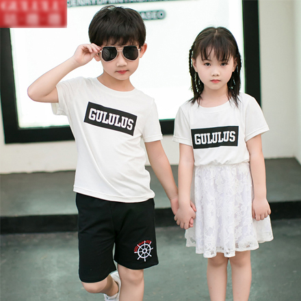 GU韓版白色字母蕾絲短袖上衣親子裝(男童)