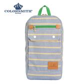 【COLORSMITH】PU・方型後背包-藍色橫條紋・PU1327-GL