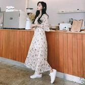 2018夏季新款黑色仙女裙V領大碼遮肚子雪紡碎花中長款連身裙長裙   mandyc衣間