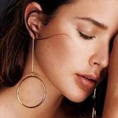 鍍18K金耳環-韓式長款大圈時尚女耳飾2色73ns38[時尚巴黎]