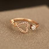 戒指 玫瑰金純銀 鑲鑽-柔美心形生日母親節禮物女飾品73by20【時尚巴黎】