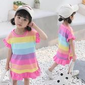女寶寶連身裙棉麻彩虹條T恤裙2019新款韓版時尚洋氣女童洋裝 CJ2931『毛菇小象』