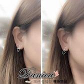 無耳洞耳環 現貨 韓國百搭金屬感超簡約三角形菱形吊飾夾式耳環 S91328 Danica 韓系飾品 韓國連線