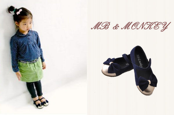 韓童鞋MB & Monkey~女童氣質蝴蝶結娃娃鞋(藍/綠)可挑