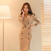 現貨S韓版氣質雙排扣收腰修身風衣式外套連身裙23569