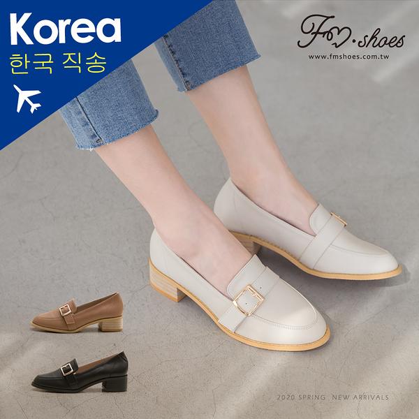 紳士鞋.韓-方釦木跟皮革紳士鞋(米白、棕)-大尺碼-FM時尚美鞋-韓國精選.Salient