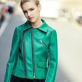 皮衣外套-歐美短款皮衣翻領氣質顯瘦女機車夾克71al43【巴黎精品】