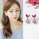 【NiNi Me】夾式耳環 氣質甜美玫紅鋯石圓形水鑽夾式耳環 夾式耳環 E0133