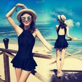 泳衣女保守小胸聚攏連身裙式顯瘦遮肚性感游泳衣韓國黑色溫泉泳裝   LannaS