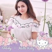上衣 Hello Kitty x Ruby 聯名款.露肩拼接假兩件短袖上衣-Ruby s 露比午茶