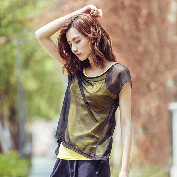 【MACACA】2in1 輕盈生活 bra top-ASG2233(黑/黃)(瑜伽/慢跑/健身/運動)