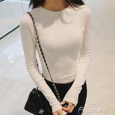 女生長T   女裝上衣體恤打底衫韓版修身白色長袖t恤女   ciyo黛雅