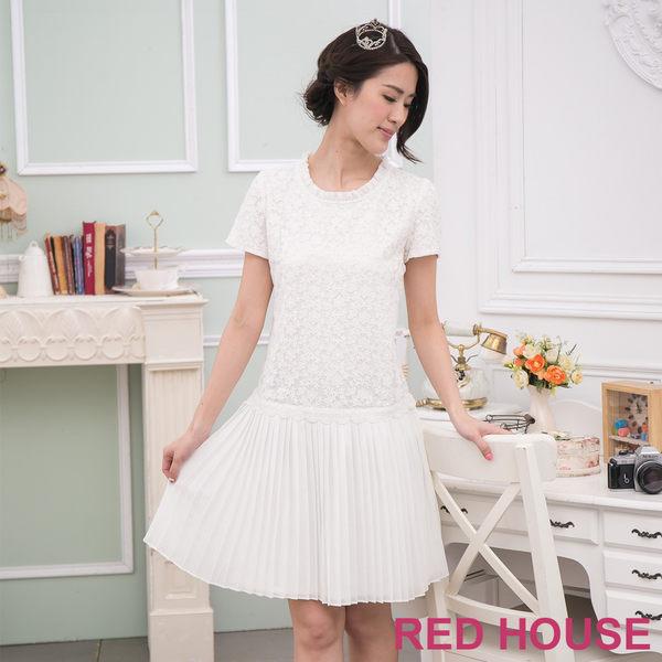 【RED HOUSE-蕾赫斯】壓摺蕾絲洋裝-網路獨家款