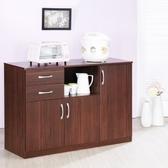 【Hopma】三門二抽廚房櫃/收納櫃-胡桃木色