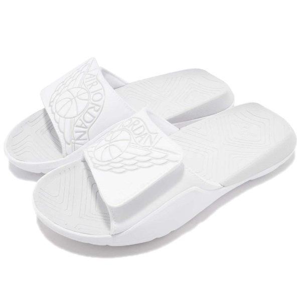 Nike 拖鞋 Jordan Hydro 7 BG 白 全白 魔鬼氈 大LOGO 舒適鞋墊設計 喬登 女鞋 大童鞋【PUMP306】 AA2516-100