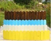 戶外花園防腐木柵欄室內彎曲裝飾彩色圍欄庭院園藝實木小籬笆 小明同學