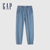 Gap女童 柔軟青年布鬆緊休閒褲 683700-淺色水洗