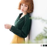 《AB4648》素色半開襟前短後長立體剪裁雪紡襯衫.3色 OrangeBear