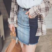 MUMU【P65446】VIVI雜誌同款。深淺拼接牛仔窄裙S-XL