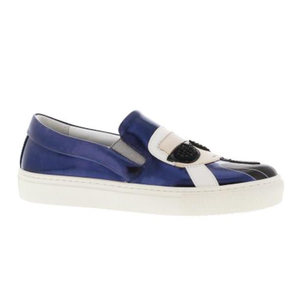 Karl Lagerfeld 卡爾 老佛爺 女鞋 KUPSOLE Q版樂福鞋- 金屬深藍