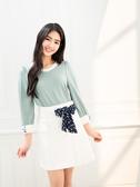 單一優惠價[H2O]袖口立體蝴蝶結配色八分袖針織上衣 - 綠/深藍/白色 #0691001