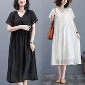 連身裙 大碼洋裝韓版文藝風純色寬松大碼胖MM顯瘦V領短袖連身裙MC062 胖妞身櫥