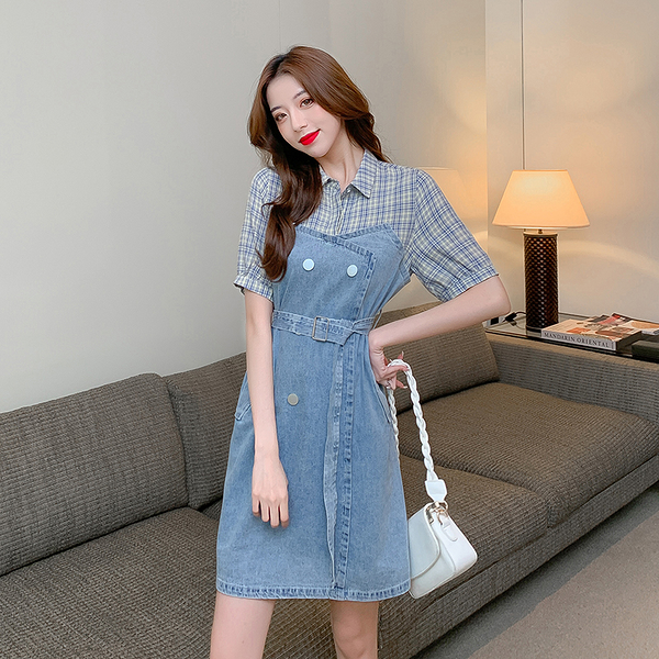 VK旗艦店 韓系格紋襯衫拼接牛仔收腰大碼寬鬆短袖洋裝
