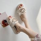 厚底拖鞋 涼拖鞋女外穿夏季厚底百搭時尚布...