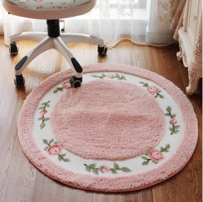 田園風格玫瑰花朵電腦椅墊臥室客廳地毯地墊妝凳 圓形