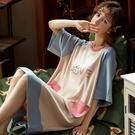 睡裙女夏季睡衣短袖薄款連衣裙春秋公主風可愛純棉夏天中長款裙子 草莓妞妞