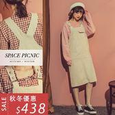 吊帶裙 Space Picnic 肩帶反釦設計雙口袋吊帶連身裙(現+預)【C18112052】