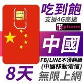 【TPHONE上網專家】中國無限高速 8天4G高速上網 使用中國移動訊號 不須翻牆 FB/LINE直接用