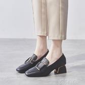 粗跟單鞋女鞋2019新款秋鞋網紅高跟鞋百搭英倫風小皮鞋中跟樂福鞋 依凡卡時尚