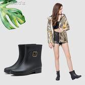 雨靴三明美短筒拼色春夏雨靴女時尚雨鞋女膠鞋舒適防滑防水鞋15013 奈斯女裝